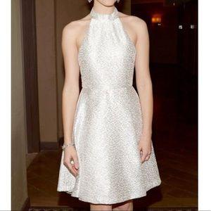 Alice and Olivia silver/white halter dress